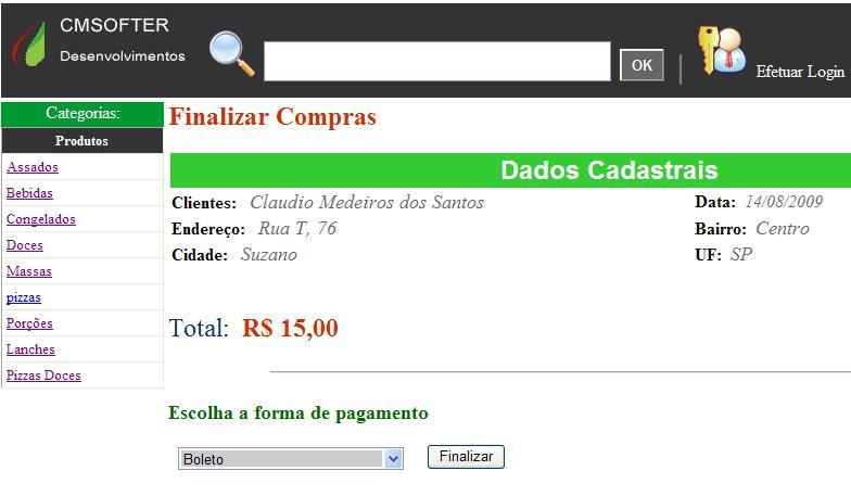0cf719004740 Controle de Pizzaria On-line- Carrinho de Compras IX