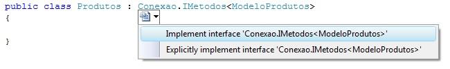 Gerando os m�todos implementados pela interface