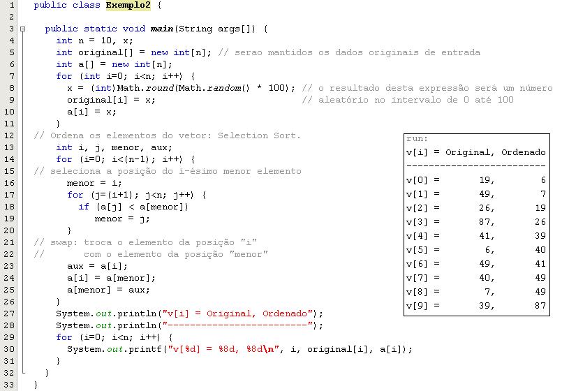 Selection Sort em Java