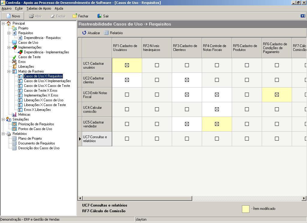 Rastreabilidade de projeto(Casos de Uso X Requisitos)