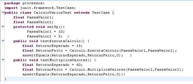 Uso do método setUP()