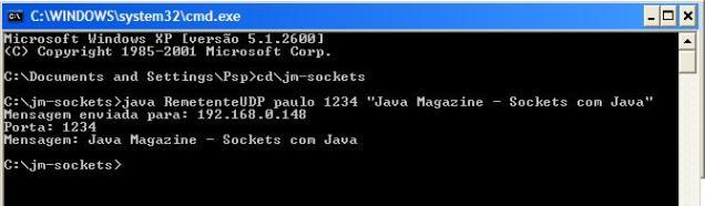 Remetente UDP em a��o (enviando mensagem ao receptor)