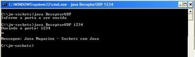 Receptor sendo inicializado para receber mensagens na porta 1234