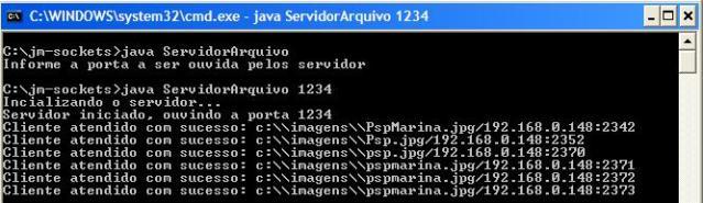 Mensagens exibidas pela thread do servidor