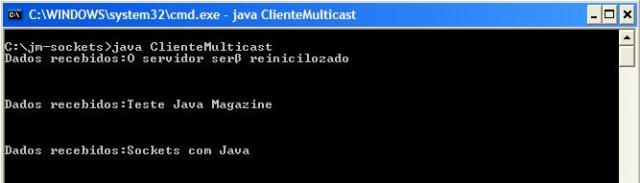 Mensagens de multicast recebidas pelo cliente