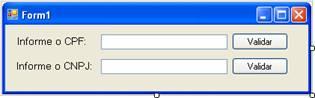 Formulário para validação de CPF e CNPJ