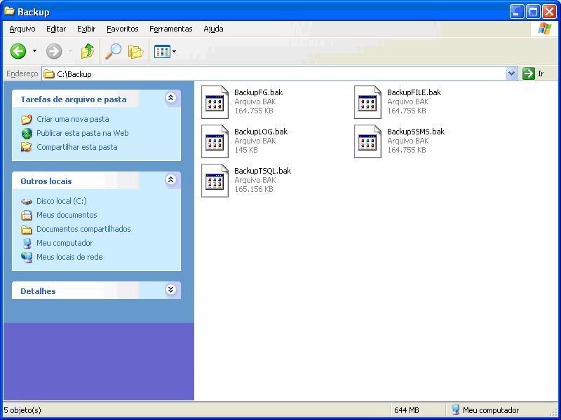 Listagem dos arquivos criados