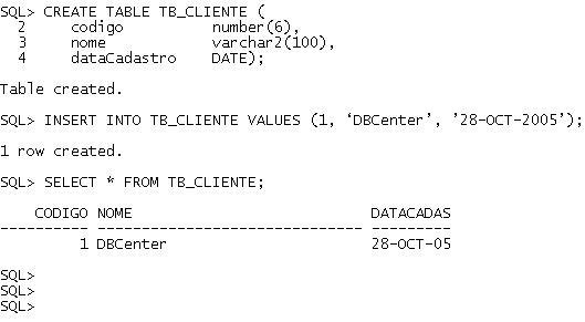 Data e Hora no Oracle - Exemplo 1