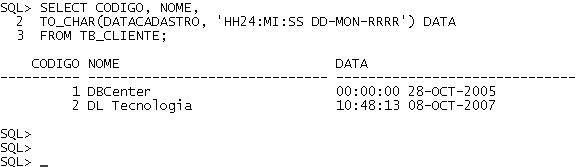 Data e Hora no Oracle - Exemplo 3