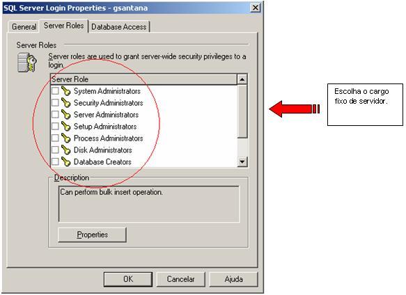 Atribuindo contas de login a cargos fixos de servidor