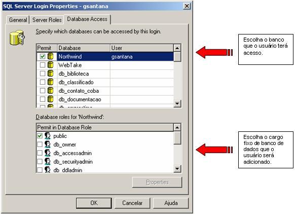 Atribuindo contas de usuátio a cargos fixos de banco de dados