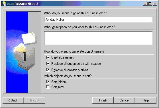 Passo 5 da criação de uma nova Business Area – parametrização