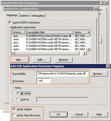 Figure 1 Mapping XML Files to the ASP.NET ISAPI Extension